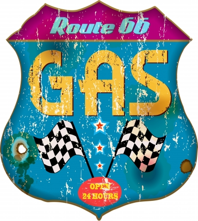 gas station: vintage gas station sign, isolated
