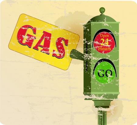 vintage gas sation sign, traffic lights,free copy space Imagens