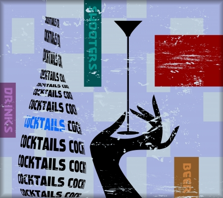 vintage cocktail sign,for bar, pub,restaurant,vector photo