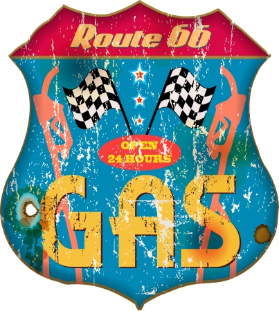 classic cars: vintage gas station sign,vector