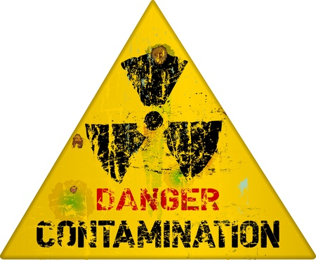 caution chemistry: nuclear contamination warning sign, vector illustration