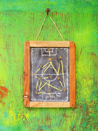 soccer tactics on chalkboard, hanging on green background photo