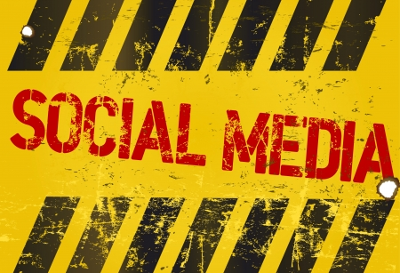 bookmarking: grungy social media sign, w. hazard stripes