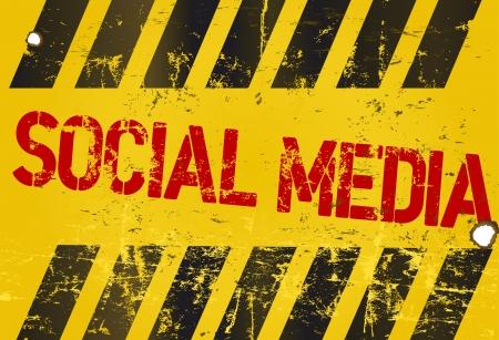 hazard stripes: grungy social media sign, w. hazard stripes