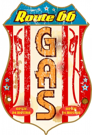 vintage gas station sign on the route 66 Vector