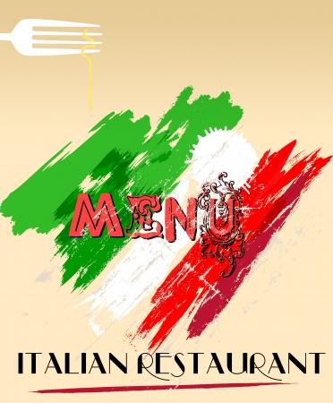 italian restaurant: Menu design for italian restaurant, free space for your logo. Stock Photo