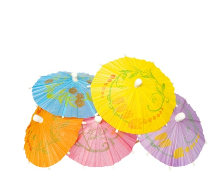 blue hawaiian drink: Multicolored Cocktail Umbrellas, spring and summer symbol,isolated on white background