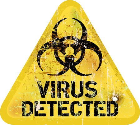 hacking: Computer virus alert, grungy segno