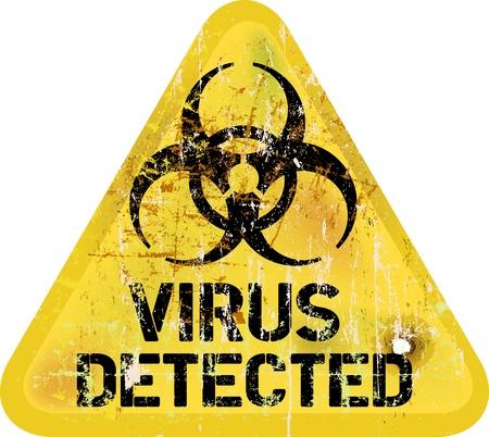 virus informatico: Virus informático alerta, signo sucio Vectores