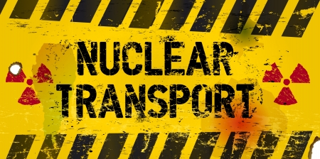 hazardous waste: nuclear transport warning sign, rotten and grungy