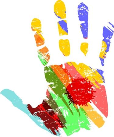 empreinte de la main avec des traits de peinture