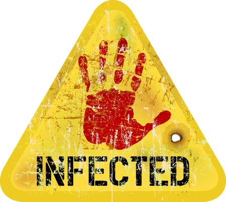 infection: infection  computer virus warning sign, vector Illustration