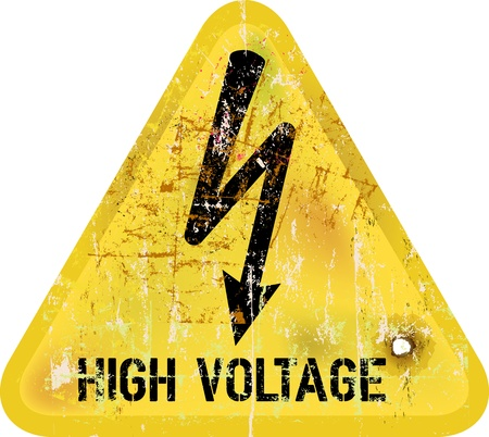 high voltage sign: high voltage, electric shock warning sign, vector