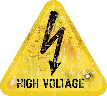 descarga electrica: voltaje, señal de peligro de choque eléctrico de alta, vector Vectores