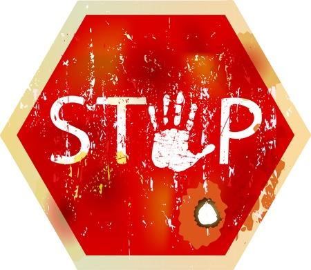 Grungy stop sign, w. hand symbol, vector Vector