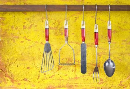utencilios de cocina: utensilios de cocina de época Foto de archivo