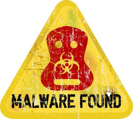 Malware panneau d'avertissement de virus informatique, vecteur Illustration