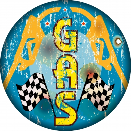 car ornament: vintage gas station sign, worn and weathered