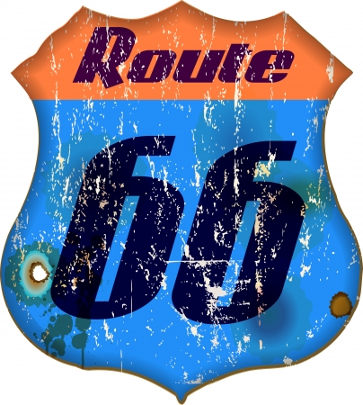 66: route 66 sign, worn and weathered, vector illustration