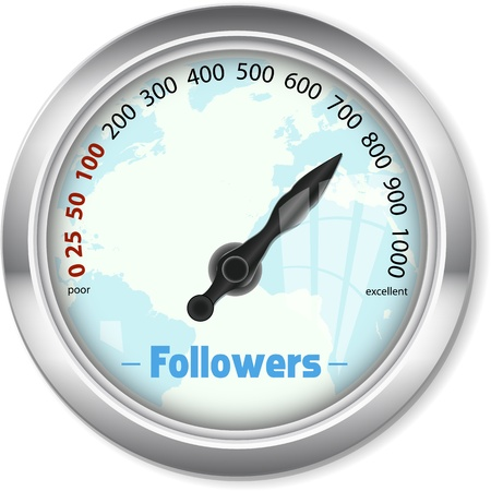 followers: Followers social media, gauge, Like - O - Meter Illustration