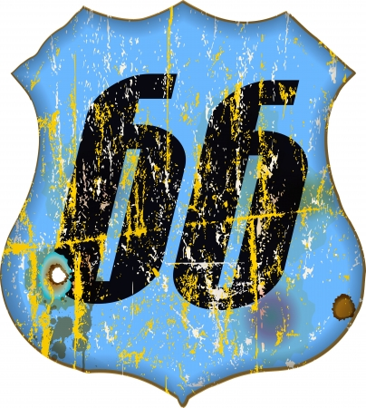 americana: route 66 sign, worn and weathered, vector illustration
