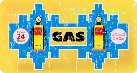 vintage gas or gas station advertisement sign Vector