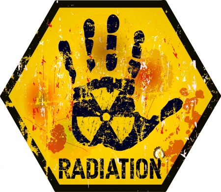 nuclear plant: radiation warning sign, grungy style Illustration