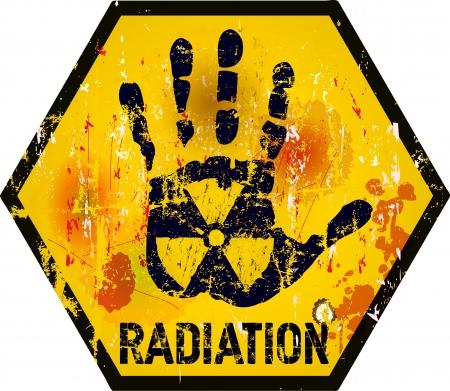 radiacion: señal de advertencia de radiación, el estilo grunge Vectores