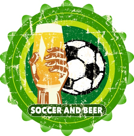 lager beer: sports bar and beer   soccer  sign, vector illustration