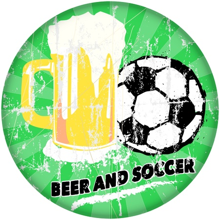 imperfections: sports bar and beer   soccer sign, vector illustration