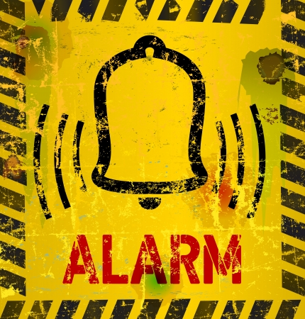 early morning: Alarm Sign, grungy style Illustration