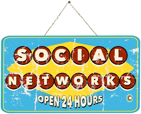 social networks, vintage sign Vector