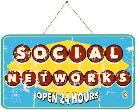 bookmarking: social networks, vintage sign Illustration