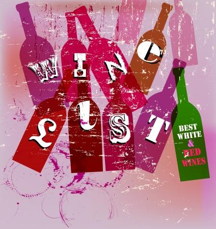 Wine List Menu Card Design; free copy space Vector