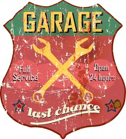 Signo taller en el garaje Vintage, vector Vectores