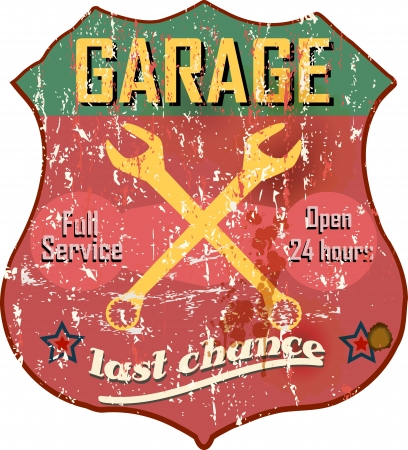 Vintage garage workshop sign, vector Reklamní fotografie - 21744956