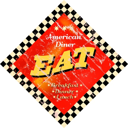Vintage Eat sign, Diner sign Vector