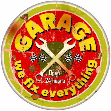 automotive repair: Vintage garage sign Illustration