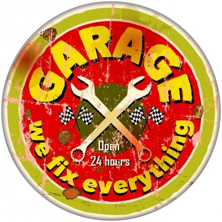 Weinlese Garage Zeichen Standard-Bild - 21744959