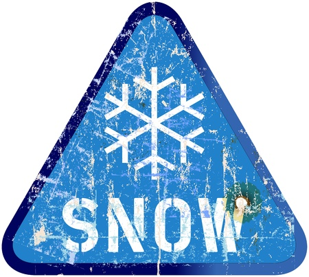 snow storm: Snow warning sign, weathered Illustration