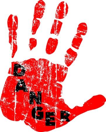 manos sucias: Se?al de peligro