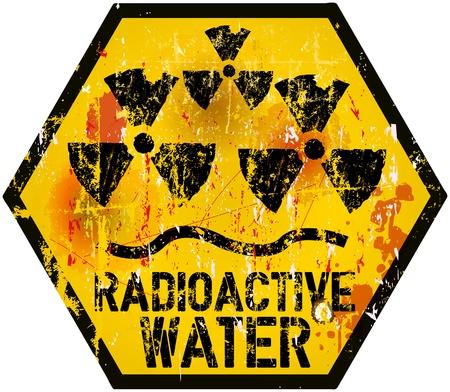 fukushima: radioactive water warning sign, grungy style