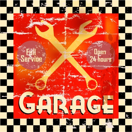 Vintage garage workshop sign, vector Illustration