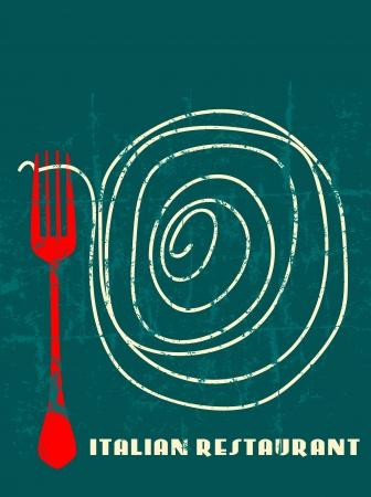 pasta fork: Menu design for italian restaurant, free space for restaurant name Illustration