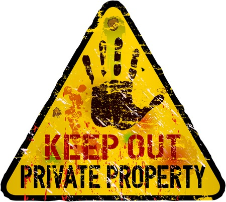keep out: private property sign, warning   prohibition sign, vector