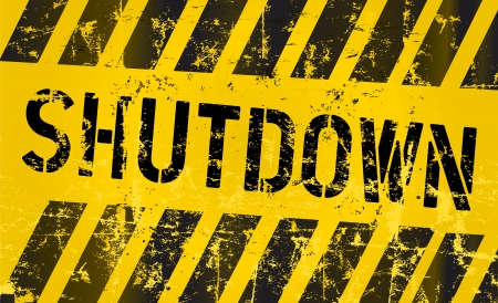 shutdown: shutdown sign, grungy style, vector illustration