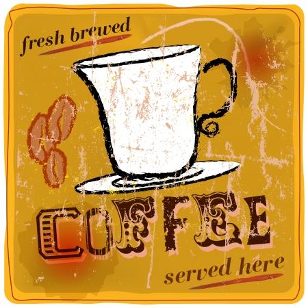 imperfections: Vintage, nostalgic sign  fresh brewed coffee, vector eps 10 Illustration