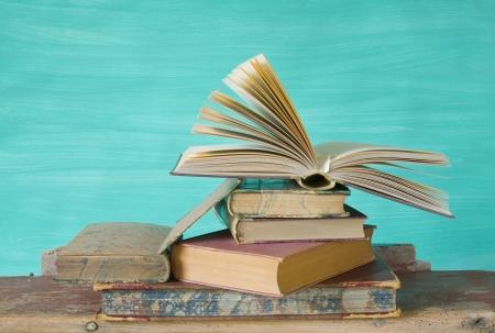 vintage books, opened books