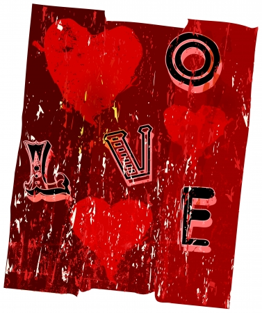 Hearts and love, super grungy, vector illustration Vector
