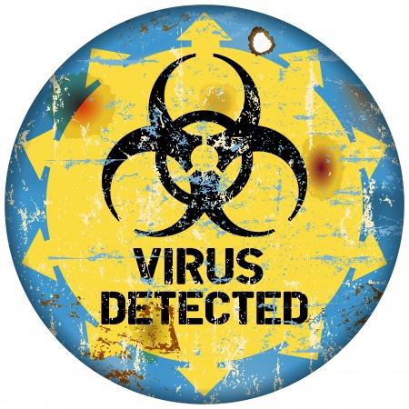 virus informatico: signo de alerta de virus inform�ticos, de estilo retro, vector eps 10